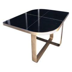 Special Price Display Coffe Table Metal Frame Top Black Aziz Marble