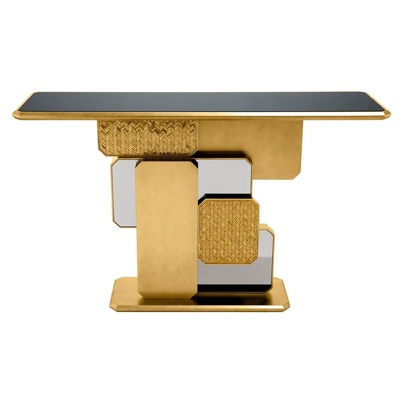 Special Price Display Console Bronzed Finish Top Smoked Mirror Mosaic Insert