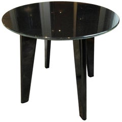 Special Price Display Side Table Solid Timber Legs Metallic Lacquer Top Glass