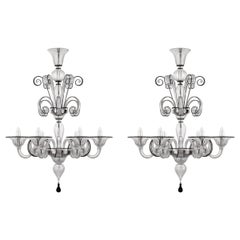 Special set of 2 x Chandeliers 9 arms Murano Glass blue finish by Multiforme