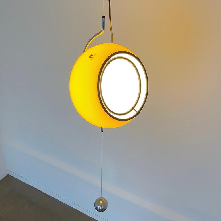 Space Age Special Yellow Ceiling Light by Harvey Guzzini, Italy, 1974 For Sale