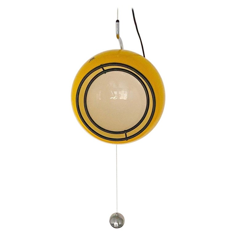 Special Yellow Ceiling Light by Harvey Guzzini, Italy, 1974 For Sale