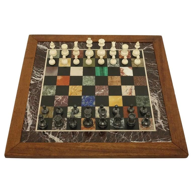 Specimen Marble Board Chess Set At 1stdibs