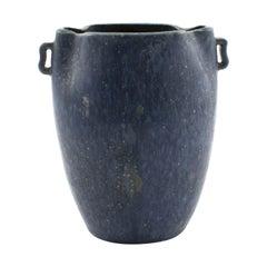 Speckled Blue Stoneware Vase by Arne Bang