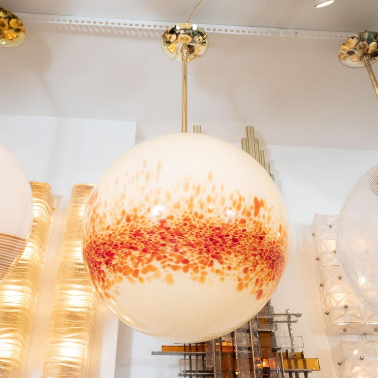 Mid-Century Modern Speckled Murano Glass Spherical Pendant Fixture For Sale