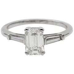 Spectacular 1.21 Carat Emerald Cut Diamond G VVS1 Tapered Diamond Side Ring