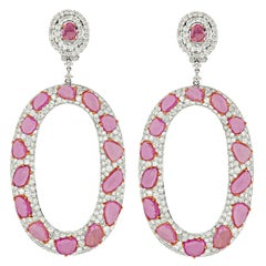 Spectacular 12.62 Carat Pink Sapphire and Diamond Earrings