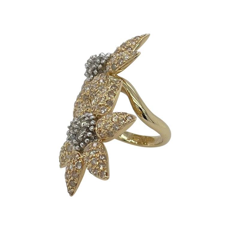 Spectacular 18k Double Yellow Gold In-Between The Ring Flower Ring For Sale