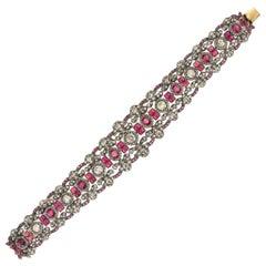 Spectacular 18 Karat Gold and Silver, Diamonds, Ruby Bracelet