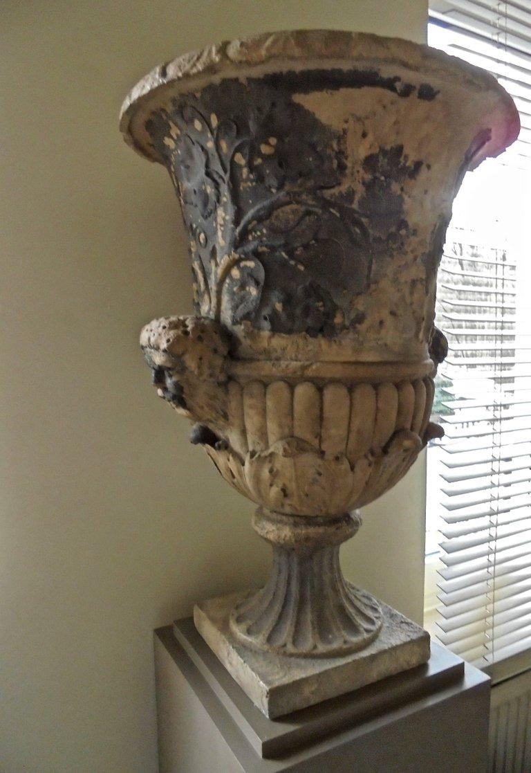 Hand-Carved Spectacular 18th Century Carved French Garden Vase For Sale