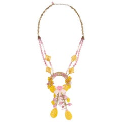 Spectacular 1960s Miriam Haskell Yellow and Pink Glass Orchid Necklace
