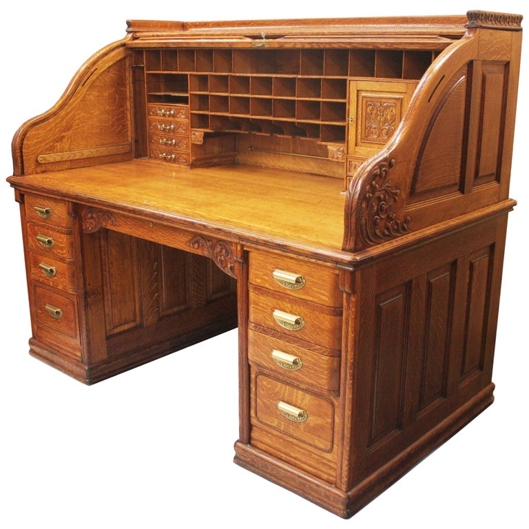 Spectacular 19th Century Oak Roll Top Desk By A Petersen Co Of Chicago