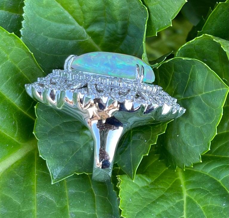 Spectacular 20 Carat Pear Shaped Opal and Diamond 18 Karat Gold Cocktail Ring 5