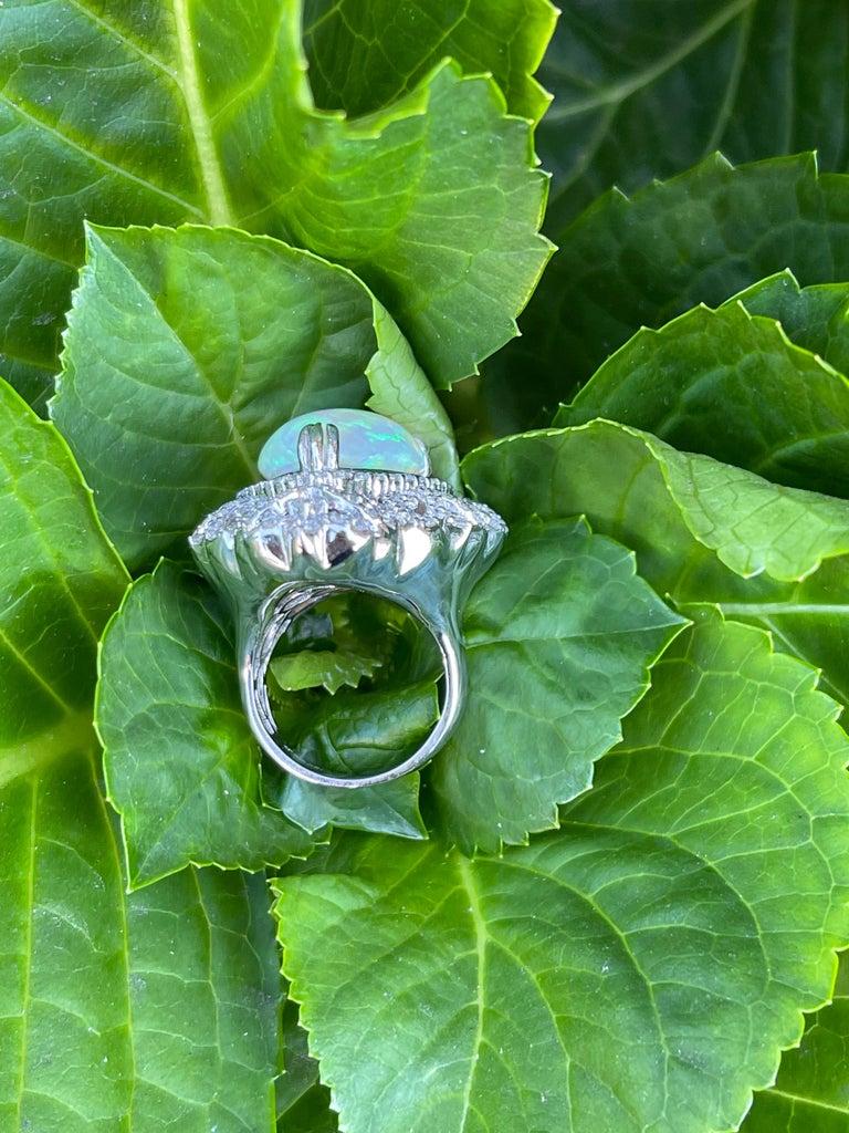Spectacular 20 Carat Pear Shaped Opal and Diamond 18 Karat Gold Cocktail Ring 7