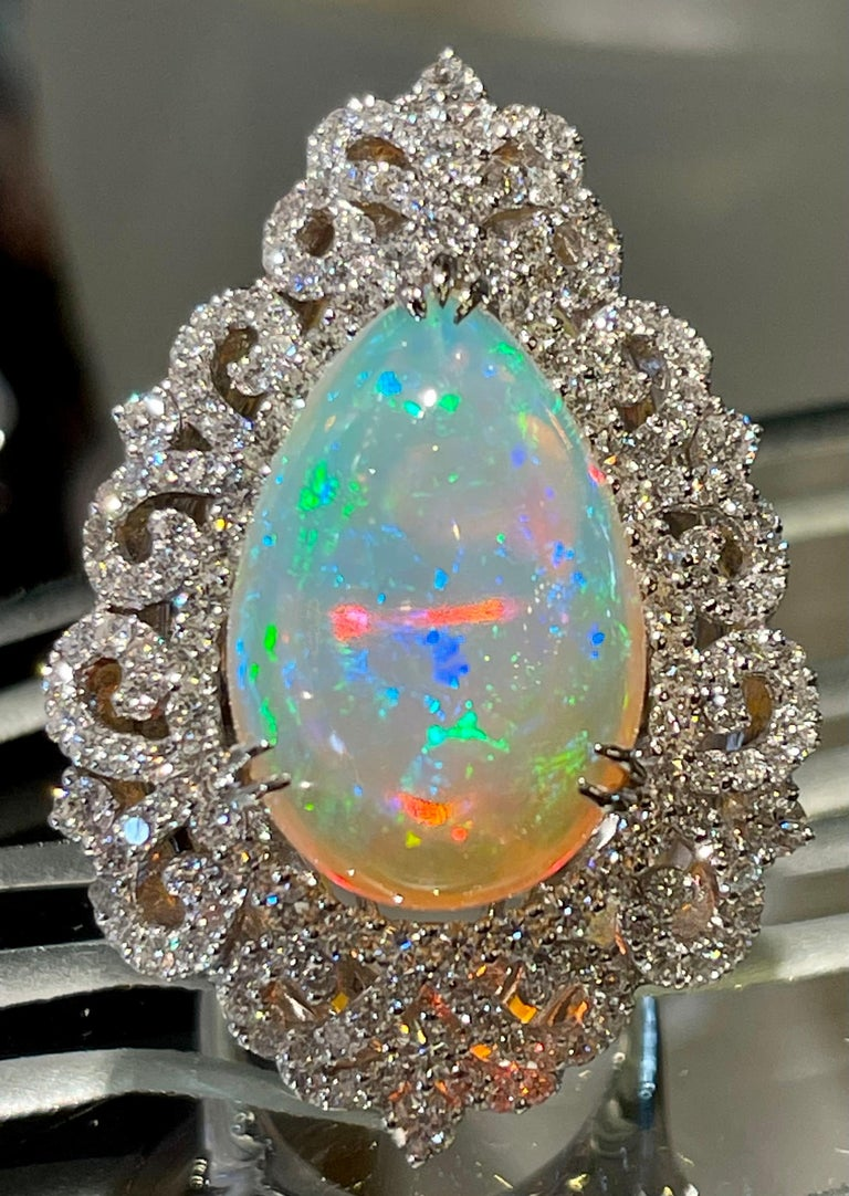 Contemporary Spectacular 20 Carat Pear Shaped Opal and Diamond 18 Karat Gold Cocktail Ring