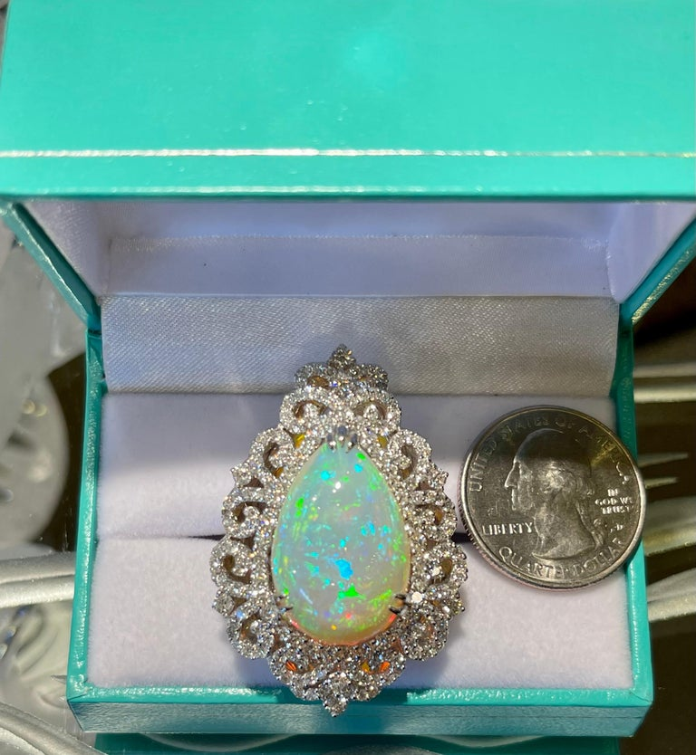 Pear Cut Spectacular 20 Carat Pear Shaped Opal and Diamond 18 Karat Gold Cocktail Ring
