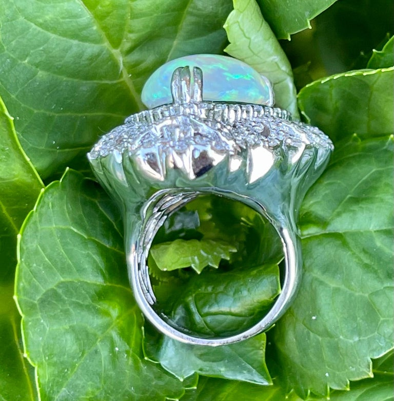 Spectacular 20 Carat Pear Shaped Opal and Diamond 18 Karat Gold Cocktail Ring 2