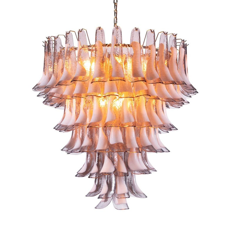 Spectacular 20th Century 7-Tier Tulip Petal Venetian Glass Chandelier For Sale