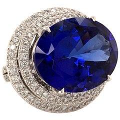 Spectacular 23.39 Carat Tanzanite and Diamond Ring in White Gold 18 Karat