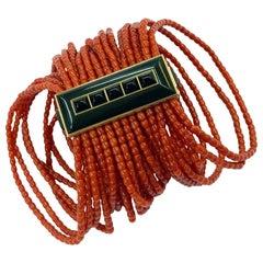 Spectacular 25-Row Coral Bracelet in 18 Karat Rose Gold with Black Horn