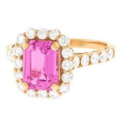 Spectacular 2.94 Carat Pink Sapphire and Diamond Set Gold Ring