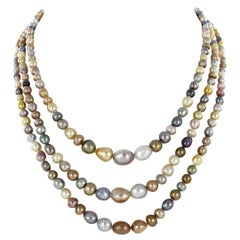 Spectacular 3-Strand Multicolored Natural Pearl Diamond Necklace
