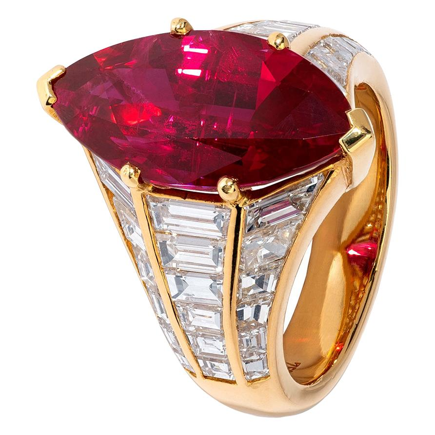 Spectacular 6 Carat Ruby and Diamond Marquise Ring