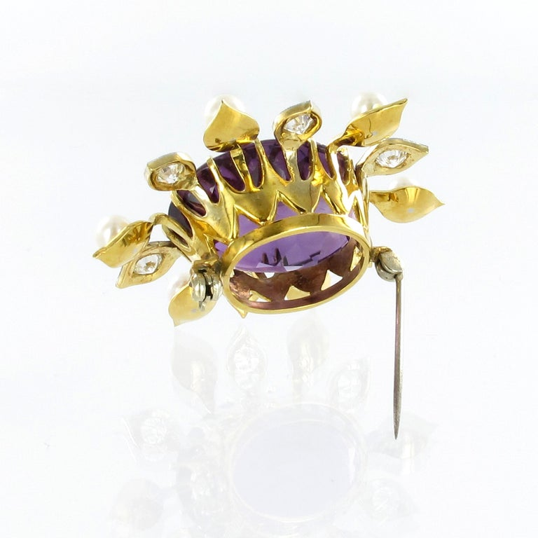 Spectacular Amethyst, Diamond and Pearl Suite in Yellow and White Gold For Sale 6