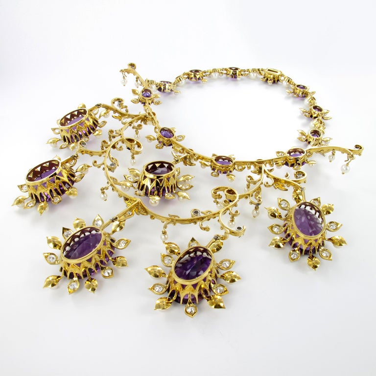 Spectacular Amethyst, Diamond and Pearl Suite in Yellow and White Gold For Sale 7