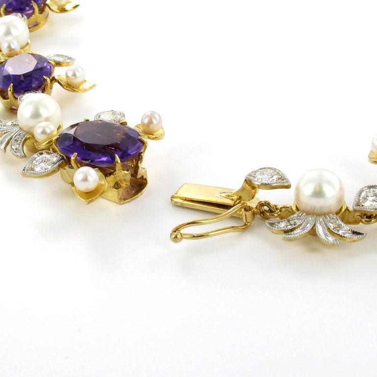 Spectacular Amethyst, Diamond and Pearl Suite in Yellow and White Gold For Sale 8