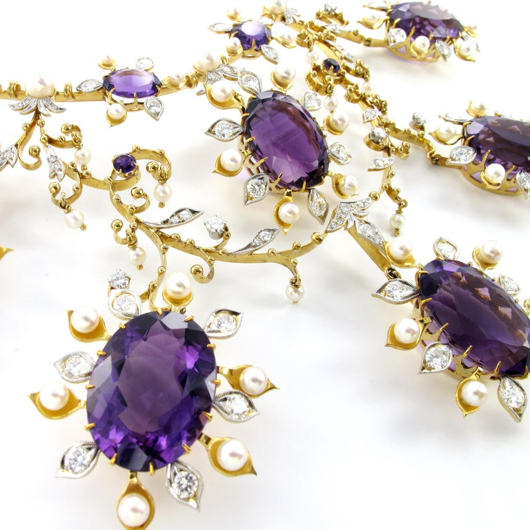 Contemporary Spectacular Amethyst, Diamond and Pearl Suite in Yellow and White Gold For Sale