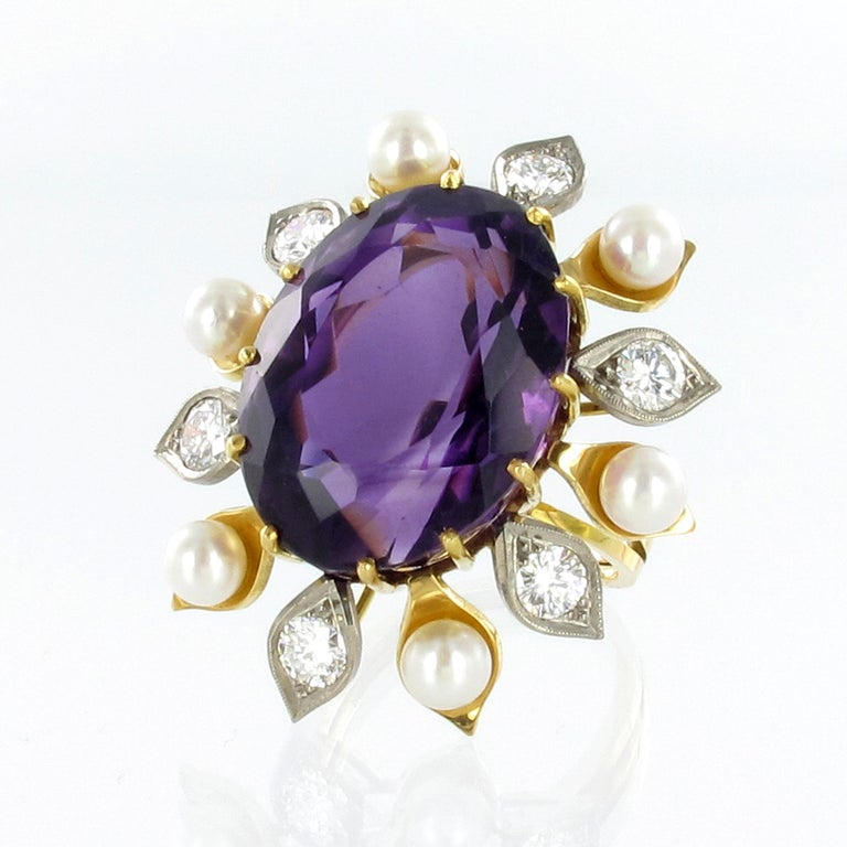 Oval Cut Spectacular Amethyst, Diamond and Pearl Suite in Yellow and White Gold For Sale