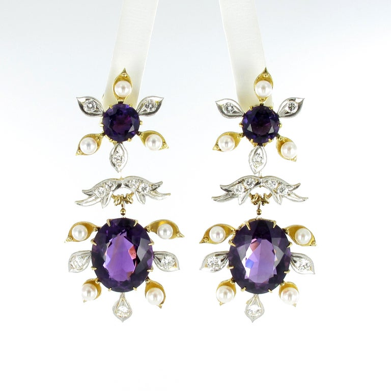 Spectacular Amethyst, Diamond and Pearl Suite in Yellow and White Gold For Sale 1