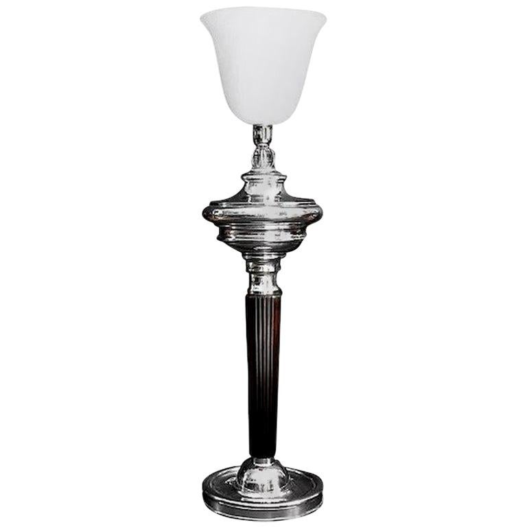 Spectacular and Huge Art Deco Silver Plate Table Floor Lamp, 1920s