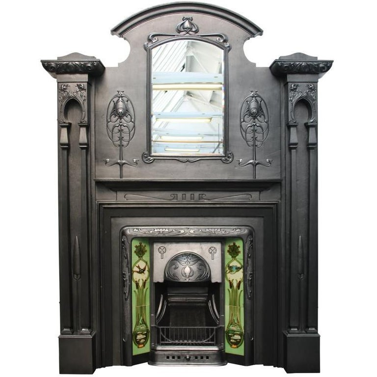 Spectacular And Rare Tall Art Nouveau Edwardian Cast Iron Fireplace Surround For