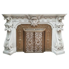 Spectacular Antique Carved French Marble Fireplace with Original Brass Insert