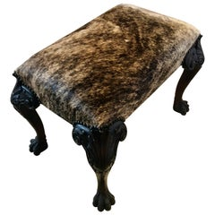 Spectacular Antique Carved Mahogany and Cowhide Ottoman
