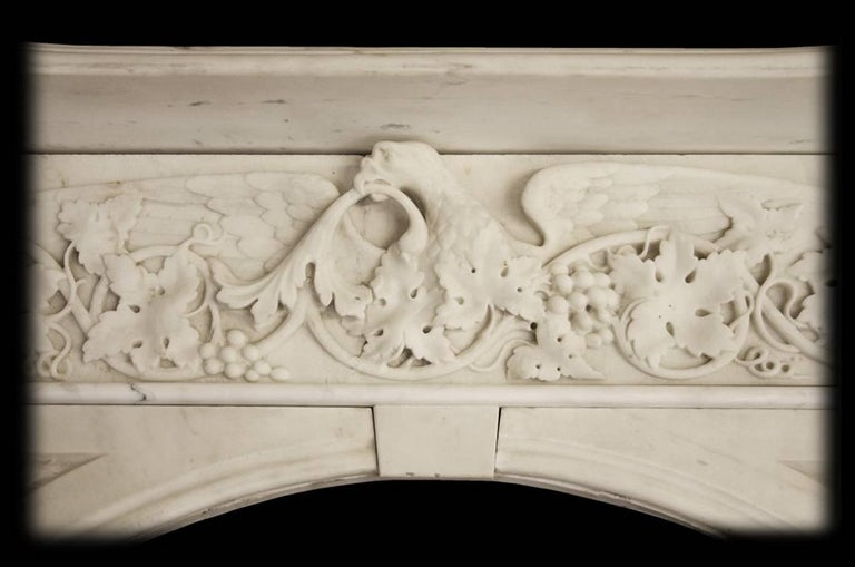 Spectacular Antique Early Victorian Carved Marble Chimneypiece In Good Condition For Sale In Manchester, GB