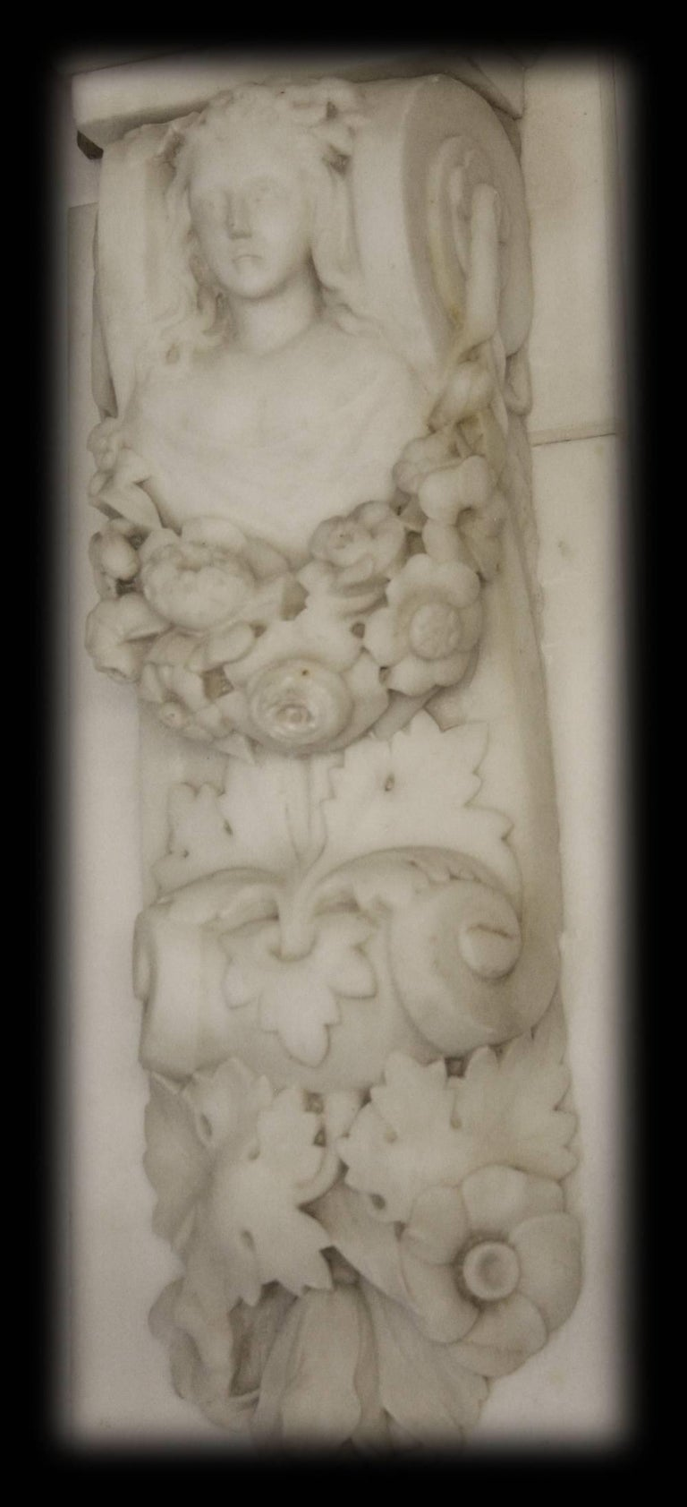 Statuary Marble Spectacular Antique Early Victorian Carved Marble Chimneypiece For Sale