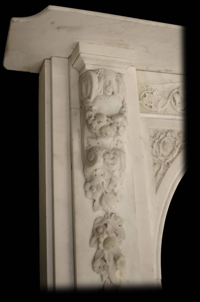 Spectacular Antique Early Victorian Carved Marble Chimneypiece For Sale 1