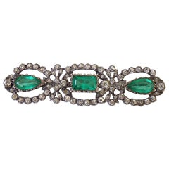 Spectacular Antique Edwardian Silver Lazarus Emerald Paste Brooch