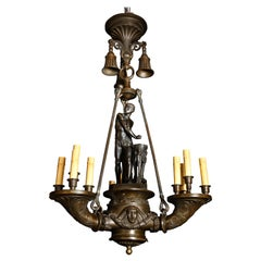 Spectacular Antique Italian Neoclassical Patinated Bronze Figural Chandelier