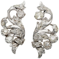 Spectacular Art Deco 5.60 Old Mine Cut Diamond Flower Spray Earrings