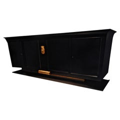 Spectacular Art Deco Black Lacquer Sideboard by René Prou, France 1936