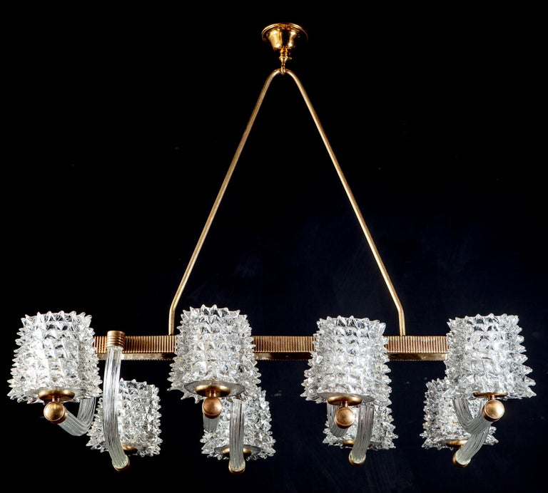 Spectacular Art Deco Murano Glass Chandelier by Ercole Barovier, 1940 For Sale 5