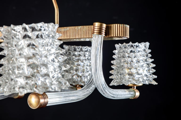 Spectacular Art Deco Murano Glass Chandelier by Ercole Barovier, 1940 For Sale 6
