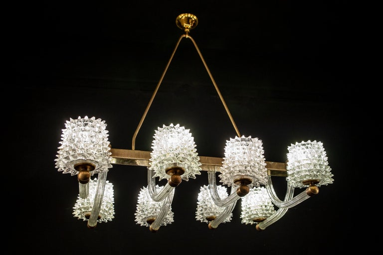 Spectacular Art Deco Murano Glass Chandelier by Ercole Barovier, 1940 For Sale 8