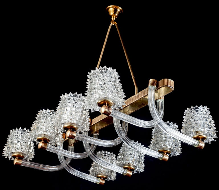 Spectacular Art Deco Murano Glass Chandelier by Ercole Barovier, 1940 For Sale 10
