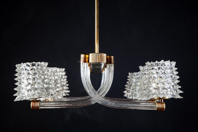 Spectacular Art Deco Murano Glass Chandelier by Ercole Barovier, 1940 In Excellent Condition For Sale In Rome, IT