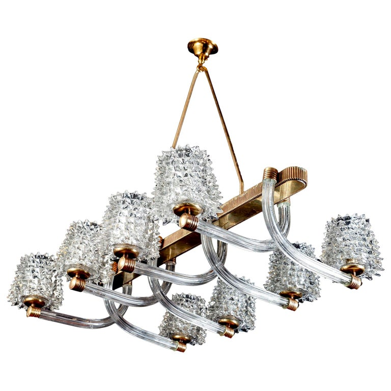 Spectacular Art Deco Murano Glass Chandelier by Ercole Barovier, 1940 For Sale